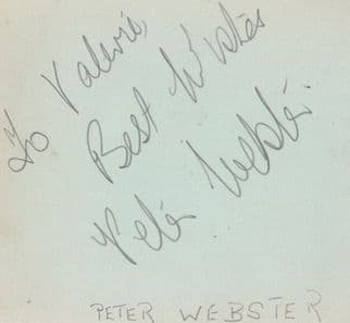 Peter Webster Blackpool Pier Entertainer Antique Hand Signed Autograph Page