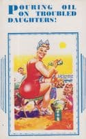 Pouring Baby Oil Powder On Crying Child Vintage Seaside Comic Humour Postcard