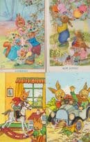 Rabbits Running Over A Hen In Car Rocking Horse Ballooon Party 4x Postcard s