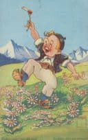 Romantic French Boy Picks Picking Flowers For Lover France Art Antique Postcard