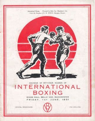 Ronnie Clayton Guido Ferracin Tony Lombard Old Manchester 1951 Boxing Programme