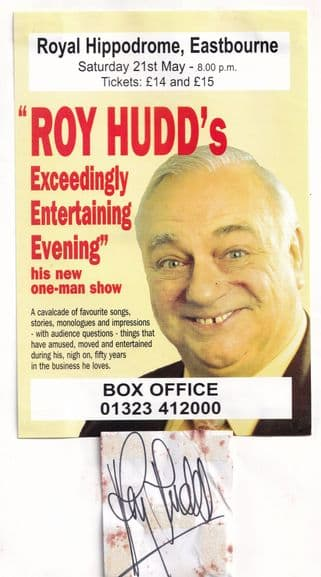Roy Hudd Live At Eastbourne Hand Signed Theatre Flyer