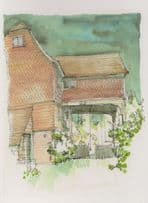 Shalford Mill Surrey Watercolour Painting Postcard