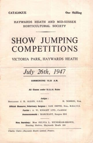 Show Jumping 1947 Haywards Heath Horse Guide Book Programme