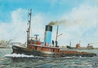 ST Gondia Tug Boat Ship Watercolour Painting Limited Edition 1650 Postcard
