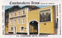 The Coachmakers Arms St Stephens Norwich Norfolk Pub Old Matchbox Label