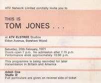 This Is Tom Jones 1971 Private TV Show Filming Guest Pass Ticket