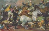Trampled Alive By Horse Antique Spanish Goya Painting Postcard