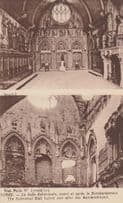 Ypres Belgium Echevinal Hall Salle Old WW1 War Bomb Bombardment Damage Postcard