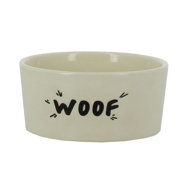 'Woof' Design Stoneware Dog Bowl
