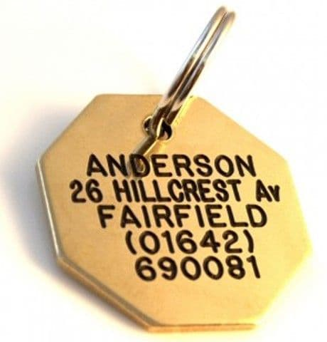 28mm Octagonal Brass Dog Pet Tag
