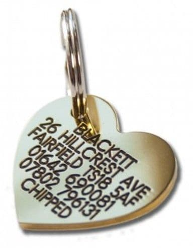 30mm Heart Shaped Brass Dog Pet Tag