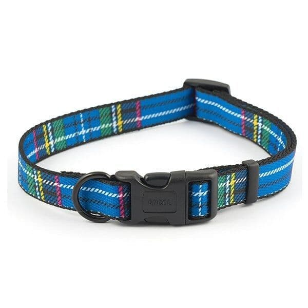 Ancol Blue Tartan Adjustable Dog Collar