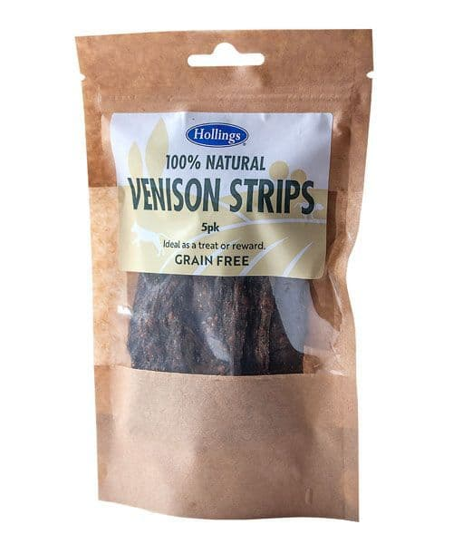 Hollings 100% Natural Grain Free Venison Strips 5 Pack