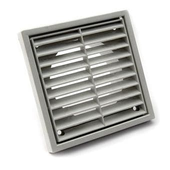 Fixed Four Inch White External Extractor Fan Grille 100mm Spigot