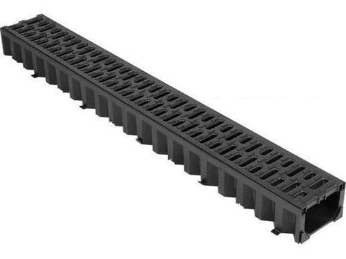 Building Supplies - Drains - ACO 1M Hexdrain Channel with Black Plastic Grating