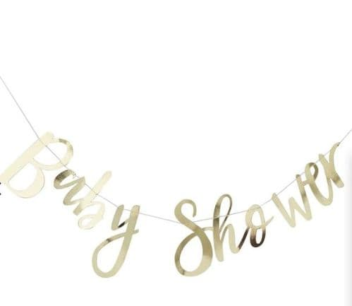 Gold Foiled Baby Shower Bunting unisex