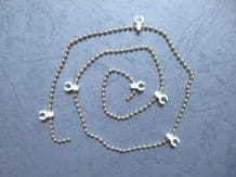 CHROME VERTICAL BLIND LINK BEAD CHAIN WITH WHITE CLIP