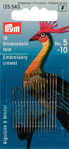 125543 Prym Fine embroidery needles HT 5-10 silver col with gold eye assorted