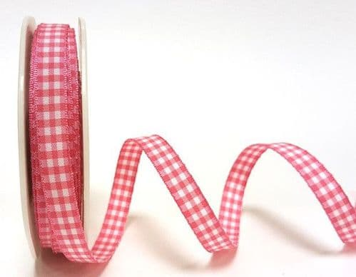 9mm Gingham Ribbon 1 Metre Assorted Colours