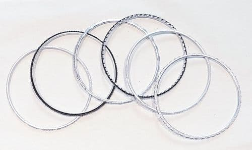 Bangle - set of 6 - silver/black