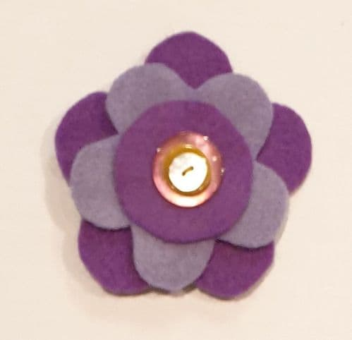 Brooch - felt flower purple