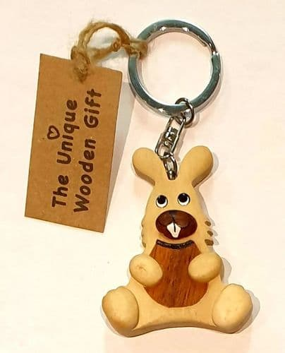 Keyring - wooden rabbit
