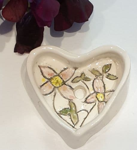 Soap Dish - Pottery Heart - Pink Flower