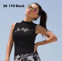 SK170 Womens' Hi Neck Crop Vest with Printed Pure Rhythm  Text